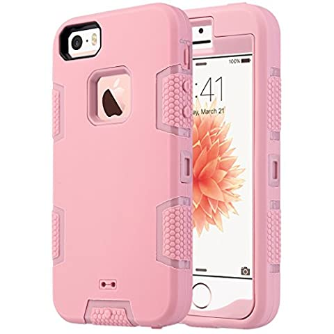 iPhone 5S Case, iPhone 5 Case,iPhone SE Case, ULAK KNOX ARMOR Heavy Duty Shockproof Sport Rugged Drop Resistant Dustproof Protective Case Cover for Apple iPhone 5 5S SE -Rose (I Phone 5s Case In Pink)