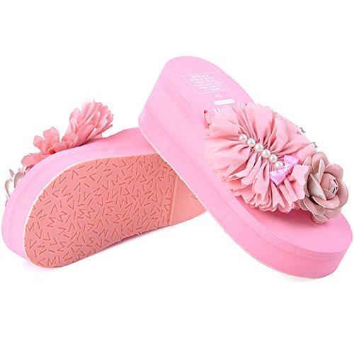 Btrada Platforms Flip Flops Sandals For Women-Summer Beach Wedges Thick Bottom Anti-Slip Clip Toe Flower Slides Pink 0Em3me