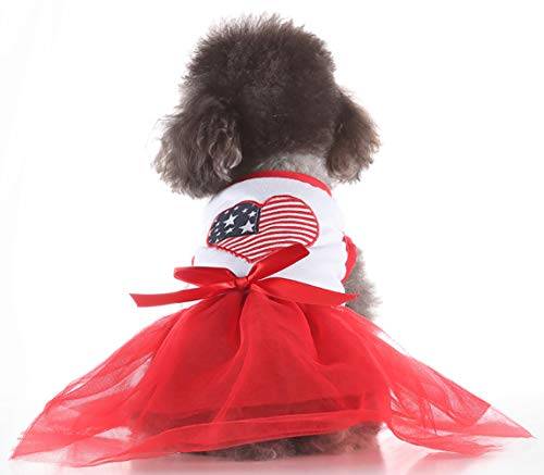 MaruPet Puppy Sweety Snappy Summer Style Ribbon Sundress Cherry Printed for Small, Extra Small Teddy, Pug, Chihuahua, Shih Tzu, Yorkshire Terriers, Papillon Red M]()