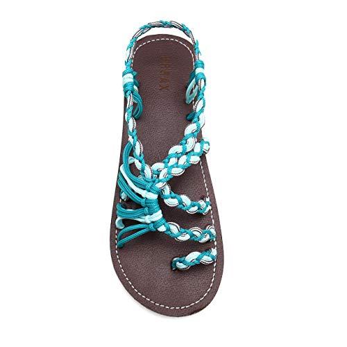 EAST LANDER Flat Sandals for Women Braided Strap Beach Shoes ZD002-W7-8 Dark Green