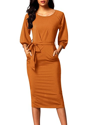 Long Sleeve Dress (Bulawoo Women's Round Neck 3 4 Sleeve Puff Sleeve Belted Pencil Dress With Pockets XL Size Yellow)