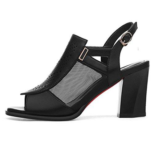 Sandals PU Upper Heels Vamp Heel Thick Heel Female Summer mesh Shoes Spring Black High Mouth Breathable Fish Mid rEHnrqA