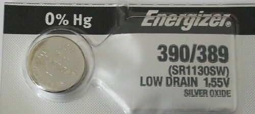 Energizer 389 390 Silver Oxide 189, SR1130SW, SR1130W 1pc (Each)