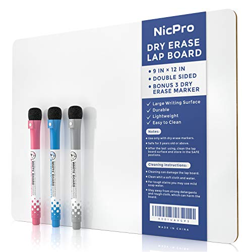 Nicpro 9 x 12 inches Lapboard Small Dry Erase Lap Board Double Sided with 3 Water-Based Pens Learning Mini Whiteoard Portable for Kid Student and Classroom Use