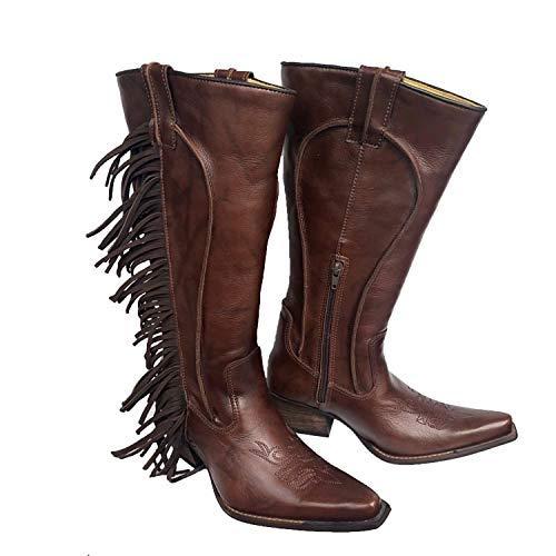 Brunello's Women's Western Cowboy Fringe Boot- La Bella in Coffee for Women- Made in Brazil