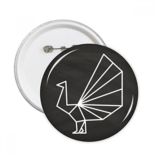 Abstract Origami Peacock Geometric Shape Round Pins Badge Button Clothing Decoration 5pcs (Origami Peacock)