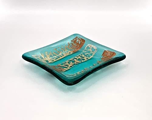 - Metallic Accents on a Transparent Aquamarine Blue Fused Glass Small Square Decorative Bowl