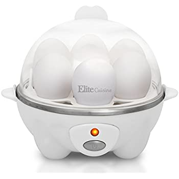 Elite Cuisine EGC-007 Maxi-Matic Egg Poacher & Egg Cooker with 7 Egg Capacity, White