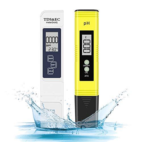 🥇 Eletorot Medidor de Prueba de Calidad del Agua PH y TDS 4 en 1 para Acuarios Medidor ph Agua