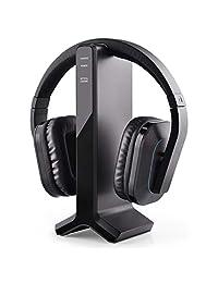 Avantree HT280   Auriculares inalámbricos de 2,4 G RF para ver la televisión con base de carga de transmisor, ideal para personas mayores y personas con problemas auditivos, con ajustes de volumen altos, sin retrasos y emparejamiento automático, rango de