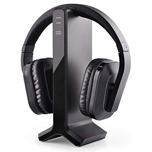 Tv Ears Headphones Speakers - Avantree HT280 Wireless Headphones for TV Watching with 2.4G RF Transmitter Charging Dock, Digital Optical System, High Volume Headset Ideal for Seniors & Hearing Impaired, 100ft Range No Audio Delay