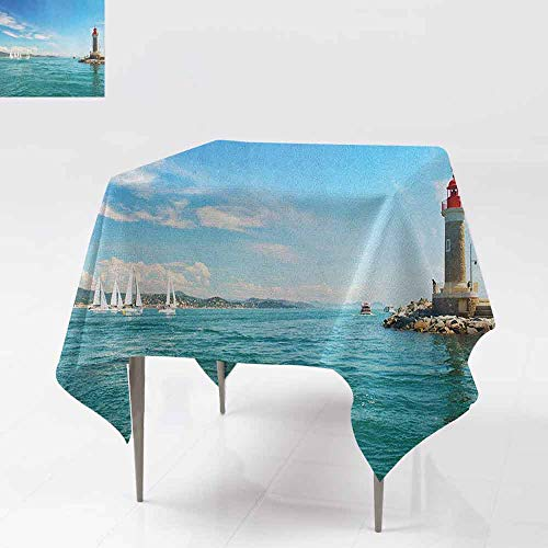 (AndyTours Indoor/Outdoor Square Tablecloth,Lighthouse,Day by The Seaside Sailboats Lighthouse Rocks Clear Sea Clouds Island Seascape,Table Cover for Dining,50x50 Inch Multicolor)