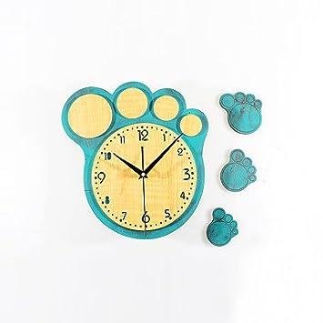 zhENfu Creativa moderna Cute dibujos animados pies grandes Imprimir Reloj de pared DIY Silencio,luz verde: Amazon.es: Hogar