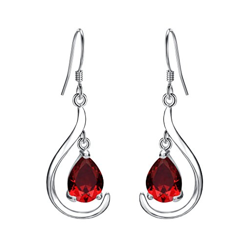 EVER FAITH Women's 925 Sterling Silver Prong CZ Simple Teardrop Daily Hook Dangle Earrings ()