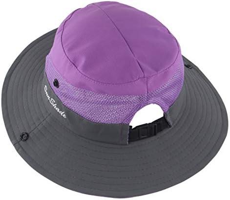 Muryobao Women s Ponytail Summer Sun Wide Brim Hat Adjustable Foldable Safari Fishing Cap