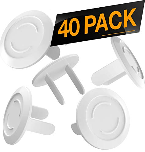 - 40 Pack Outlet Plugs Covers [Protect Your Child] Child Proof - Best Safety Electrical Power Socket Plug Wall Cover Protector - Plastic Baby Proofing Caps [Perfect FIT] White (40 Pack)