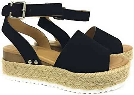 7bb4fa5887e Womens Topic Casual Espadrilles Trim Rubber Sole Flatform Studded Wedge  Nubuck Buckle Ankle Strap Open Toe