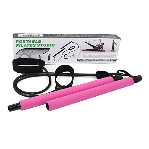ZHLONG Pilates Fitness Bar Aérobic Portable Expander Extensible Bande Corde Hanche entraînement Multi-équipement,Pink