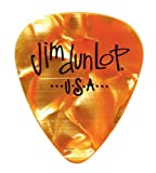 Dunlop 483R08TH Genuine Celluloid, Orange Pearloid, Thin, 12/Player's Pack