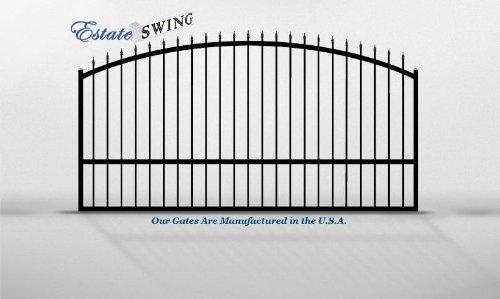 (The Estate Swing 12 Foot Long, Single Driveway Gate - Black E-SG 12S)
