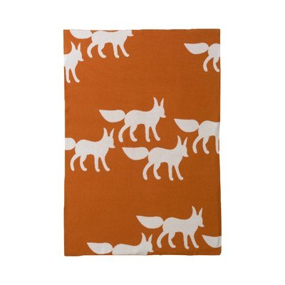 Foxes Orange Graphic Knit Blanket by Dwell Studio Dwell Studio Knit Blanket