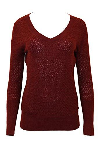 Doria Women's 100% Merino Wool Pointelle V-Neck Sweater Small Maroon (Wool Pointelle)