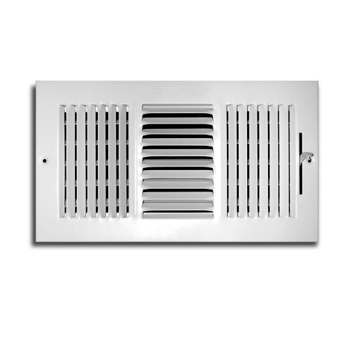 Truaire C103M 10X06(Duct Opening Measurements) 3-Way Supply 10-Inch by 6-Inch Sidewall or Ceiling Register Grille, White