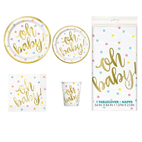 (Baby Shower Deluxe Party Pack Serves 16 Plates Cups Napkins & Tablecloth (Oh Baby Gold))