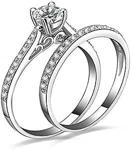 مجموعة خاتم الزفاف والخطبة قياس 7 من زركونيا مكعب ومطلي بالبلاتينيوم