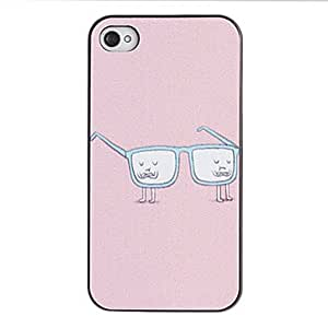 SUMCOM Mr. Glasses Pattern PC Hard Case with Black Frame for iPhone 4/4S