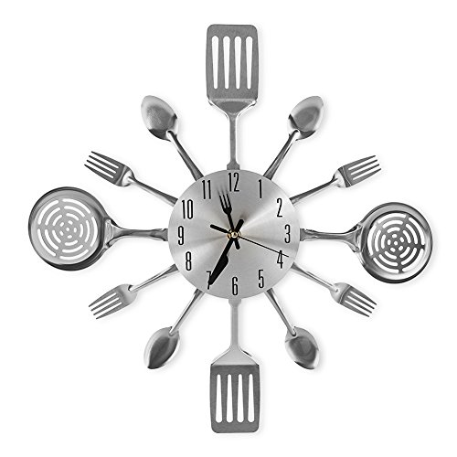 Fork Wall - CIGERA 16 Inch Large Kitchen Wall Clocks with Spoons and Forks,Great Home Decor and Nice Gifts,Sliver