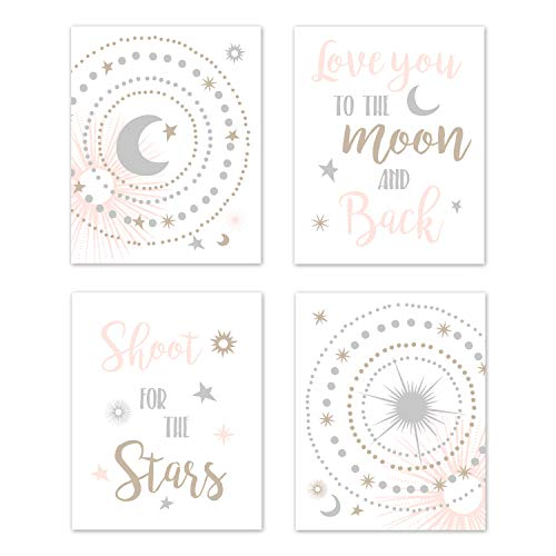- Sweet Jojo Designs Blush Pink, Gold, Grey and White Star and Moon Wall Art Prints Room Decor for Baby, Nursery, and Kids for Celestial Collection - Set of 4 - Shoot for The Stars