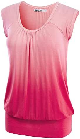 LL Womens Short Sleeve Solid / Dip-Dye Ombre Sweetheart Top - Made in USA