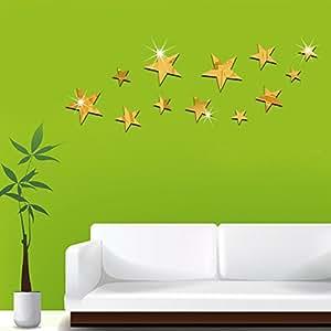 LY & HYL pared adhesivo decorativo espejo TV estéreo pared pegatinas estrellas pared espejos decoración del hogar 50cm * 18cm, mezcla de materiales, dorado, gold