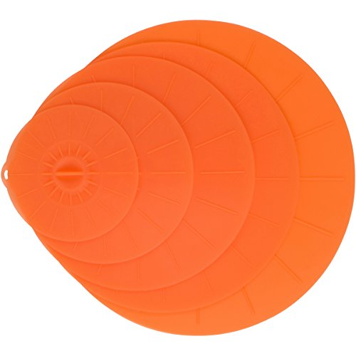 Orange Silicone Lid Covers Set - 5 Reusable Flat Covers For Food, Bowls, Pans, Cups, Pots And More – Includes large almost 14"