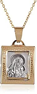"""14k Gold Two-Tone Mama Mary and Baby Jesus Square Medal Necklace, 18"""""""