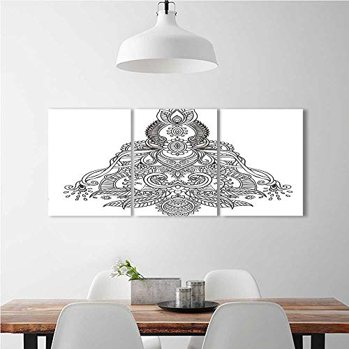 Color 3 Piece Wall Art Painting Frameless Henna Composition Lotus Tibetian Tulips Sun and Ribbons Black and White Hotel Office Decor Gift Piece W12 x H16 x - Hero Ribbon Big 6