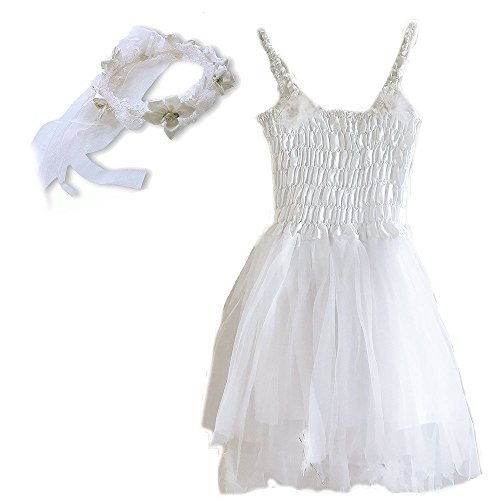 [White Fairy Princess Dress & Head Wreath Little Girl's Dress Up Costume white] (White Fairy Costumes)