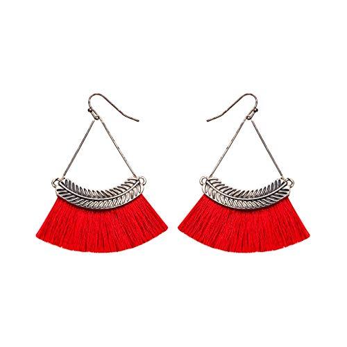 Haluoo Women's Tassel Earrings, Boho Bohemian Thread Tassel Statement Drop Earrings Strand Fringe Leaf Hoop Earrings Feather Hoops Dangling Earrings Jewelry (Red)