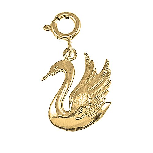 - Jewels Obsession Swan Charm Pendant | 14K Yellow Gold Swan Pendant - 19 mm