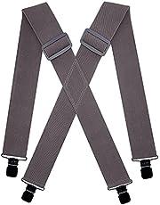KRICJYH Suspenders for Men Heavy Duty with Black Clips Adjustable X-Back Braces