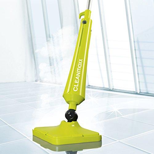 CLEANmaxx Dampfbesen Kompakt Plus 1300W Mega Power - Perfekte Bodenpflege Ganz Ohen Chemie ( Mit Druckventil Für Sicheres Öffnen, Flexibles Gelenk Am Mopp )