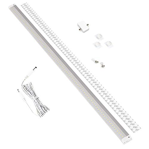 EShine White Finish 40 inch LED Under Cabinet Lighting Bar Panel with Accessories (No Power Supply Included) - NO IR Sensor, Cool White (6000K)