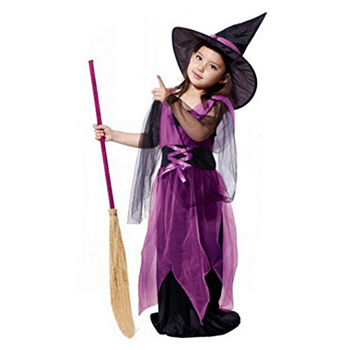 METFIT Toddler Kids Baby Girls Halloween Clothes Costume Dress Party Dresses+Hat Outfit (6-7T, Purple (70s Halloween Specials)