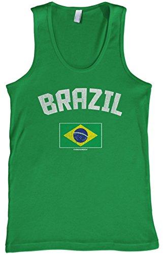 Threadrock Men's Brazil Brazilian Flag Tank Top S Kelly (Brazil Sleeveless)