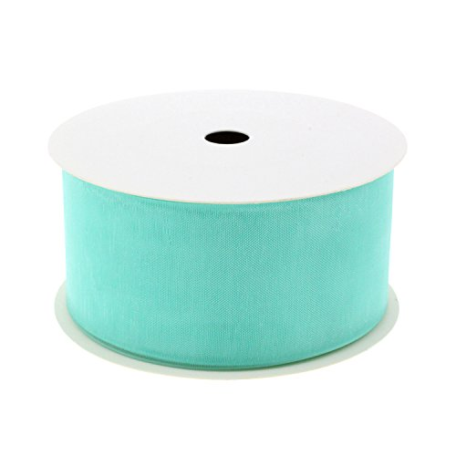 "Midi Ribbon Shimmer Sheer Organza Ribbon - 1-1/2"" X 10 Yards/Pack - Aqua"