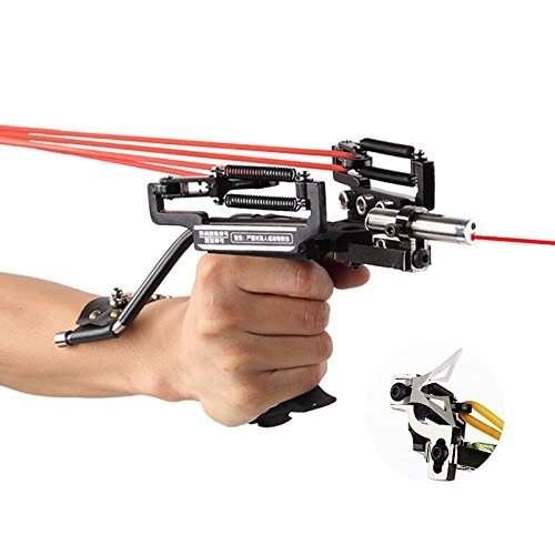 Smarty SS-40 Adjustable Spring Multi-function Powerful Stainless Hunting Laser Slingshot,Hunting Bow Sling with a Arrow ()