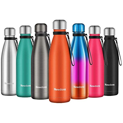 Newdora Botella de Agua Acero Inoxidable 500ml, Aislamiento de Vacio de Doble Pared, Botellas de Frio/Caliente, con 1 un Cepillo de Limpieza, para Ninos, Deporte, Oficina, Gimnasio, Naranja
