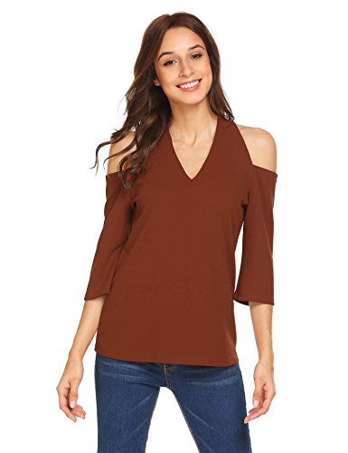Grabsa Women's 3 4 Sleeve V Neck Sexy Top Blouse Brown (Sexy Brown One Shoulder)