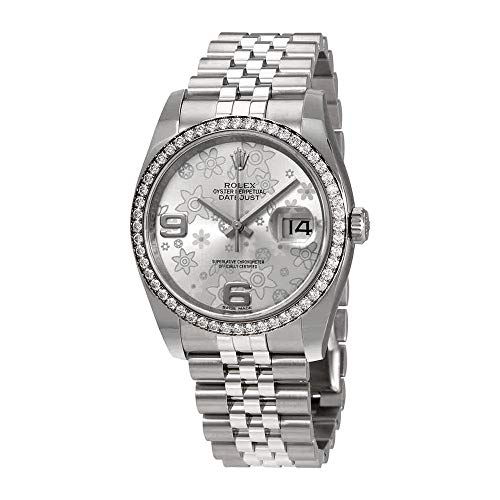 Rolex Oyster Perpetual Datejust 36 Silver Floral Dial Stainless Steel Jubilee Bracelet Automatic Ladies Watch 116244SFAJ